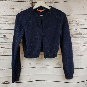 Modcloth Wrapped in Retro Navy Cropped Cardigan